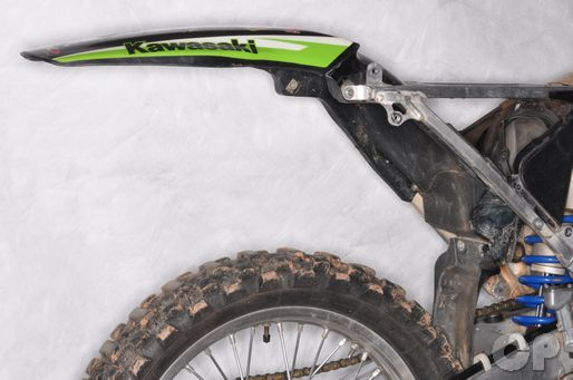 Take off the seat, side covers and rear fender on the kx250f.
