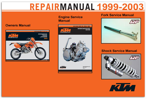 Official 1998-2003 KTM 250-380 SX, MXC, EXC Manuals