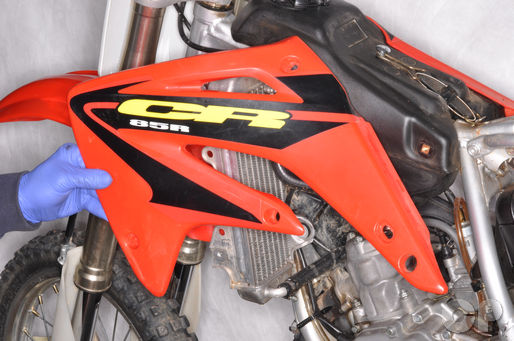 Honda CR80 CR85 servive manual radiator shroud removal