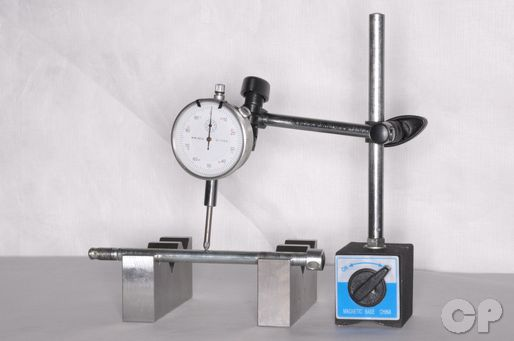 Check the axle runout with a dial gauge and a set of V-blocks.