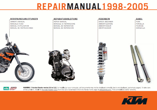 Get access to KTM LC4 400 620 625 640 660 manuals now.