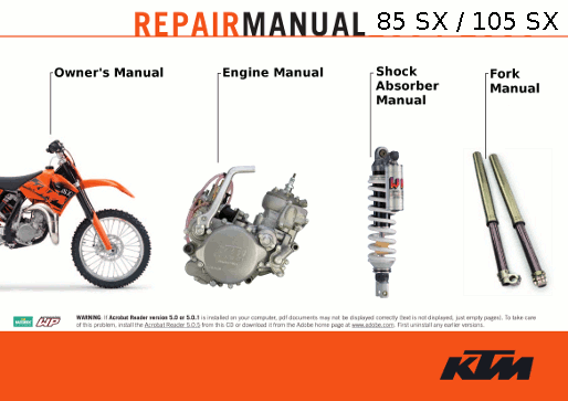 Get instant access to KTM 85 SX XC and 105 SX XC Service Manuals