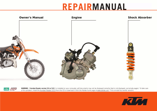 Get instant access to the official KTM air cooled and liquid cooled 50 sx service manuals