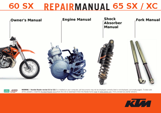Online Official KTM Repair Manuals for 60 SX 65 SX and 65 XC models 1998-2008