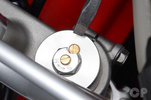 Honda CRF150R front fork air bleeder screw removal