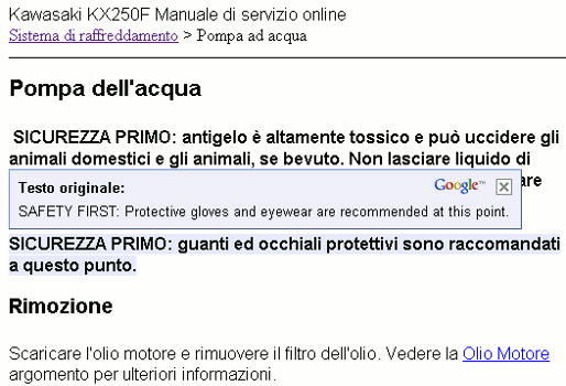 Online Service manual language translation