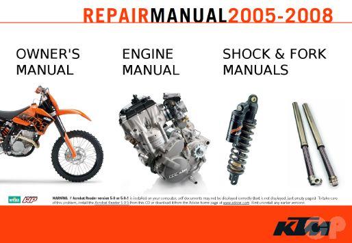 KTM 250 SX-F, SXS-F, XC-F, XCF-W, EXC-F 2005 - 2008 Online Manuals