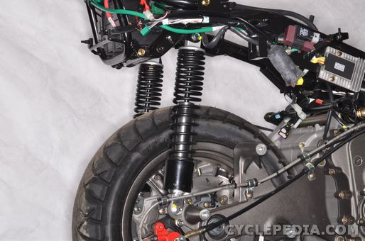 kymco xciting 500 ri abs rear suspension shock absorbers rear fork