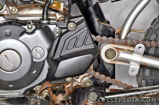 yamaha tt-r50 drive chain sprockets slider slack inspection adjustment