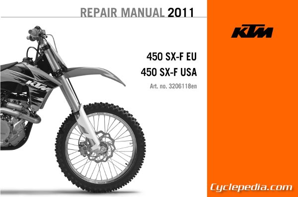 official 2011 ktm 450 sx f repair manual cyclepedia rh cyclepedia com 2015 ktm 450 sxf repair manual ktm 450 sxf service manual pdf