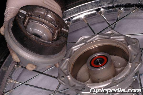 KLX110 L Kawasaki front brake drum shoe inspection replacement and adjustment
