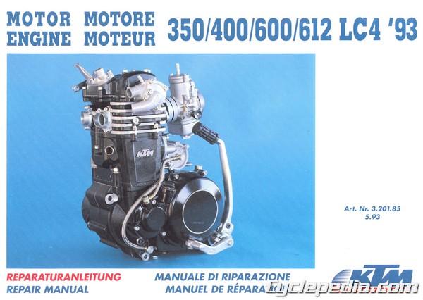official 1993 1994 1995 ktm 350 400 600 612 620 lc4 repair manuals rh cyclepedia com