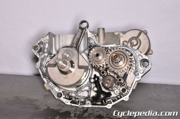 Kawasaki KX450F engine crankcase splitting crankshaft transmission bearings