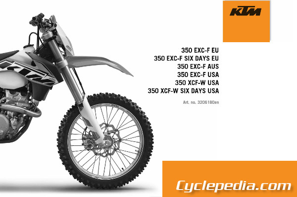 official 2014 ktm 350 exc f xcf w repair manual cyclepedia rh cyclepedia com ktm 350 exc f repair manual ktm 350 exc f workshop manual