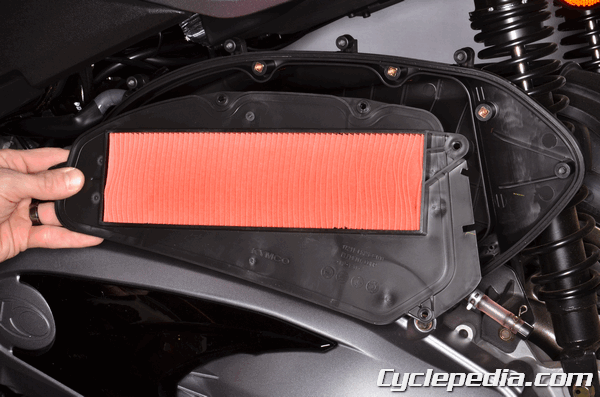 Kymco XCiting 400i abs air filter replacement periodic maintenance schedule