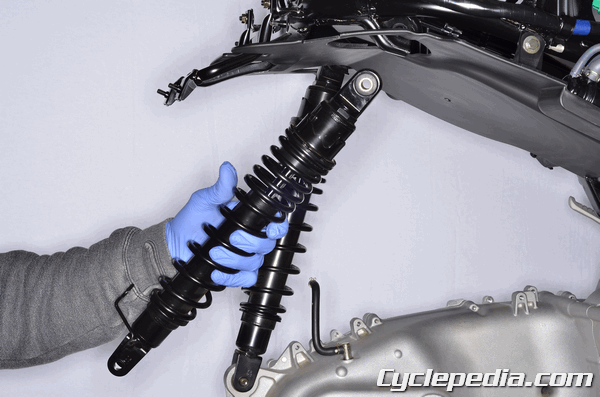 Kymco XCiting 400i abs rear shock absorber removal and installation preload adjustment